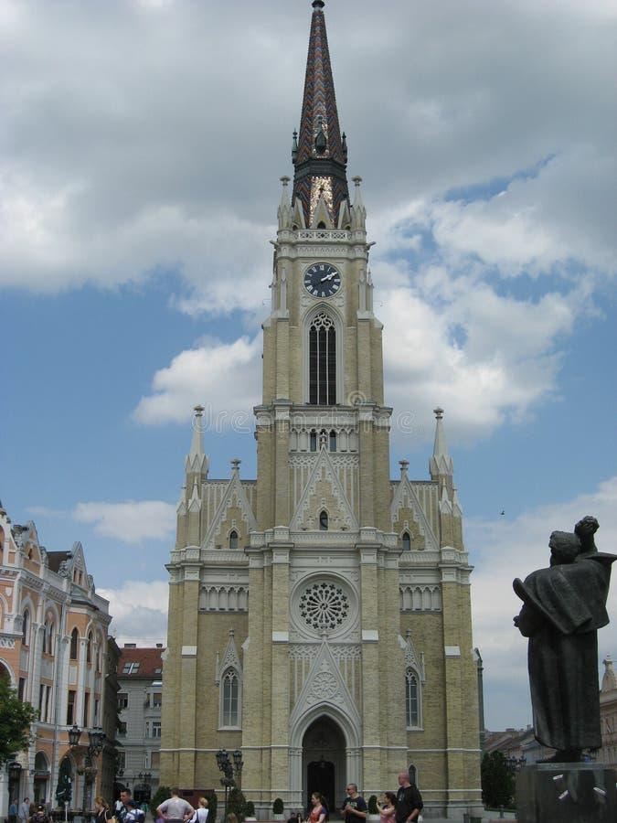 Monument of Svetozar Miletic, Liberty square, Catholic cathedral, Virgin of Mary, Novi Sad ,Vojvodina, Serbia royalty free stock photos