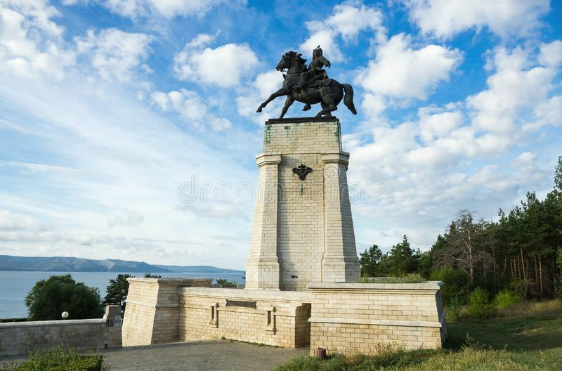 Monument of Tatishchev on the banks of the Volga river at Togliatti, Russia. Monument of Vasily Tatishchev on the banks of the Volga river at Togliatti, Russia royalty free stock image