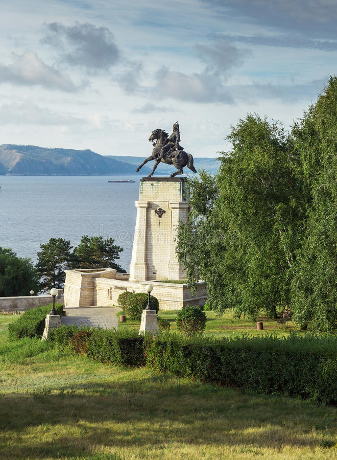 Monument of Tatishchev on the banks of the Volga river at Togliatti, Russia. Monument of Vasily Tatishchev on the banks of the Volga river at Togliatti, Russia stock photos