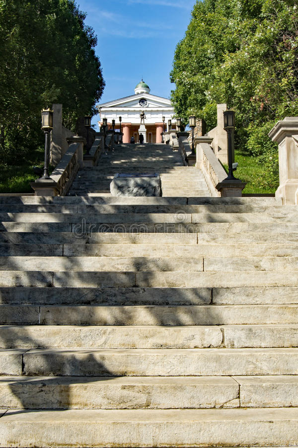 """Monument Terrace – Lynchburg, Virginia, USA. Lynchburg, VA – August 17th; View from the bottom of historic """"Monument Terrace"""", this stock photos"""
