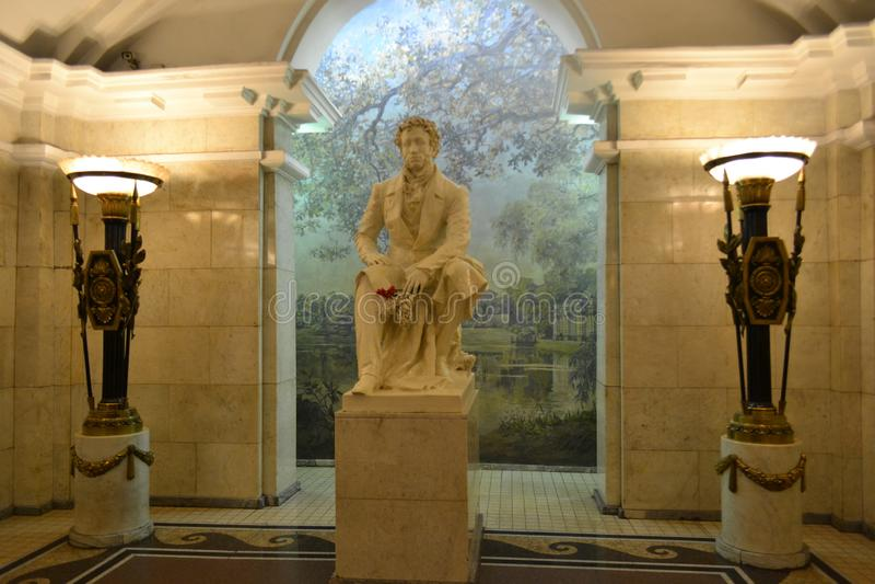 Monument till Alexander Pushkin, den stora ryska poeten, arkivfoton