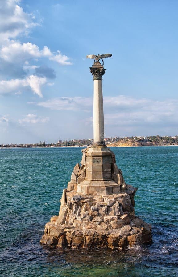Monument till de översvämmade skeppen i Sevastopol royaltyfria foton