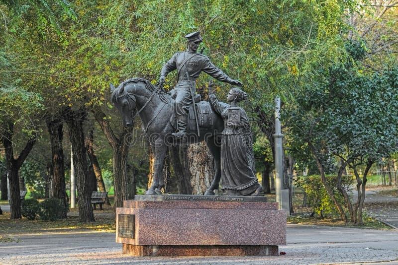 Monument till de ryska kosackarna i Volgograd, Ryssland royaltyfria bilder