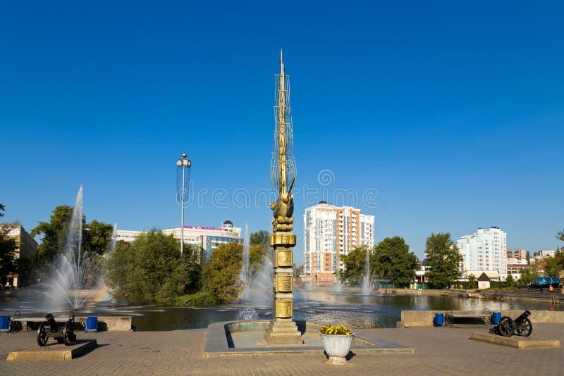 Monument till den 300. årsdagen av staden Lipetsk royaltyfria foton