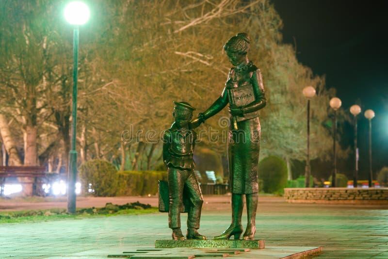 Monument till den första läraren, Volgograd arkivbilder
