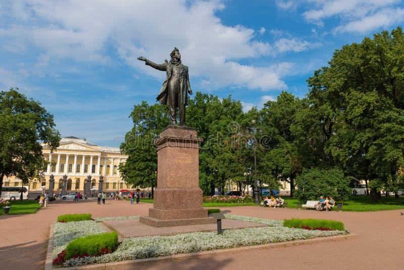 Monument till den stora rysspoeten Alexander Pushkin royaltyfri foto