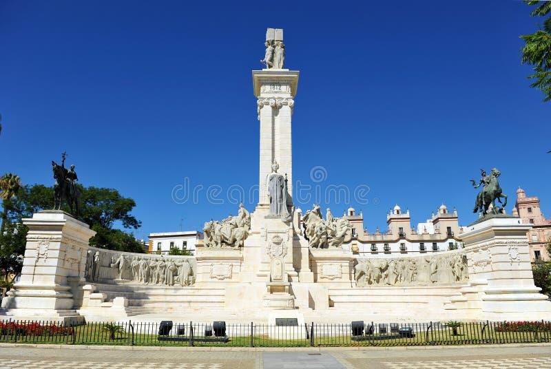 Monument till domstolarna av Cadiz, 1812 konstitution, Andalusia, Spanien royaltyfria foton