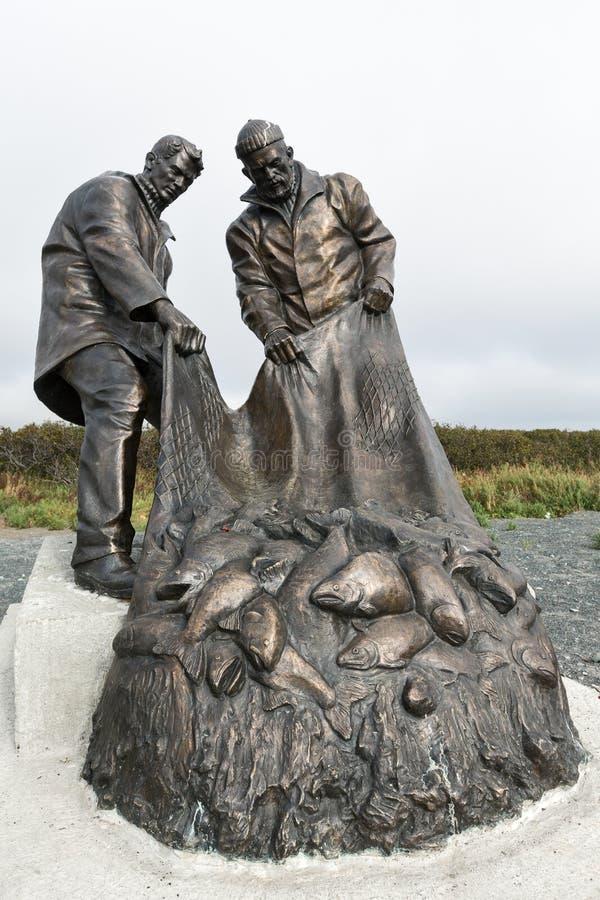 Monument till fiskares härlighet eller monument till fiskare kamchatka royaltyfria foton