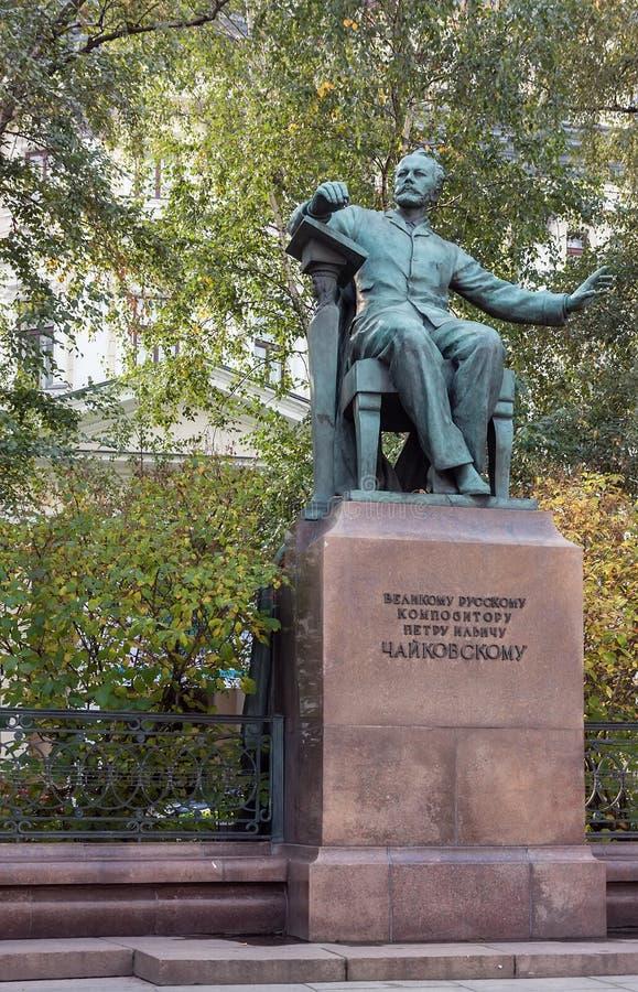 Monument till kompositören Tchaikovsky, Moscow royaltyfri bild