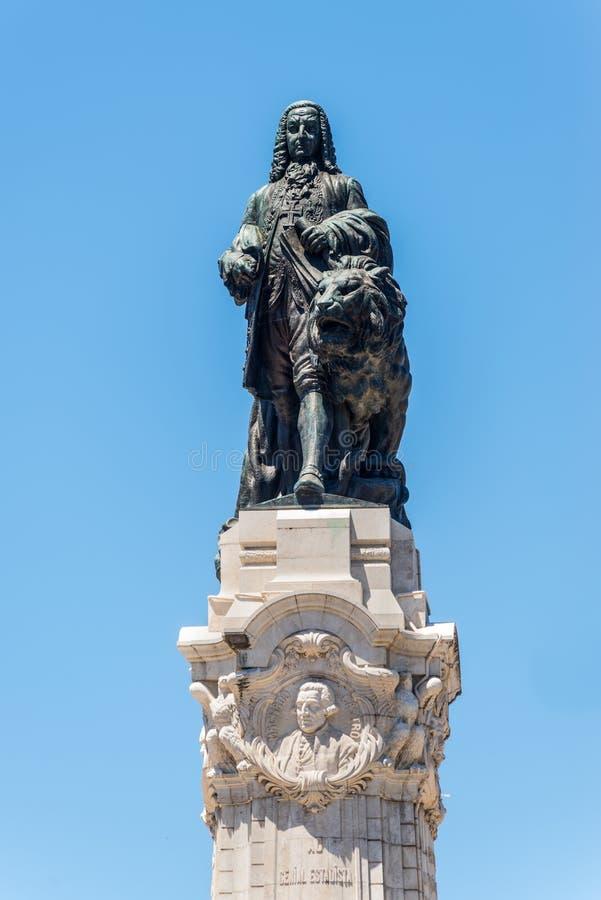 Monument till markisen av Pombal i Lissabon, Portugal arkivfoto