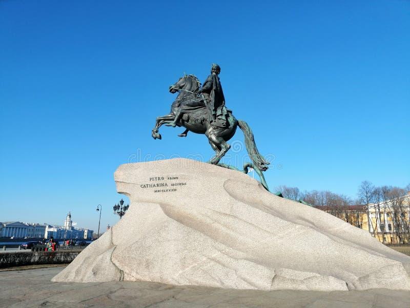 monument till Peter på hästrygg från drottningen Catherine arkivbild