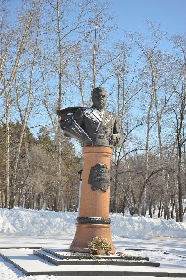 Monument till Rodion Yakovlevich Malinovsky, marskalk av Sovjetunionenet, Khabarovsk, Ryssland royaltyfria bilder