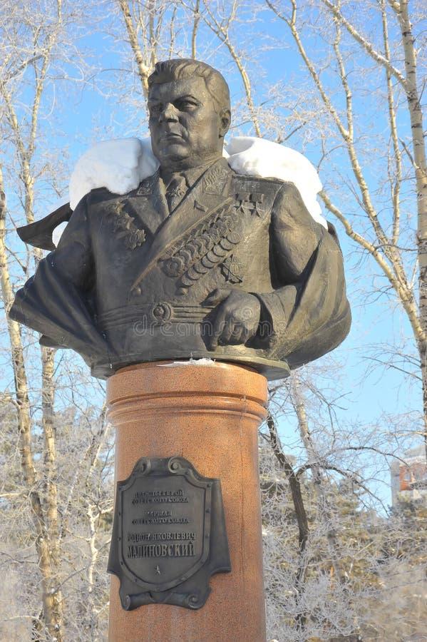 Monument till Rodion Yakovlevich Malinovsky, marskalk av Sovjetunionenet, Khabarovsk, Ryssland royaltyfri foto