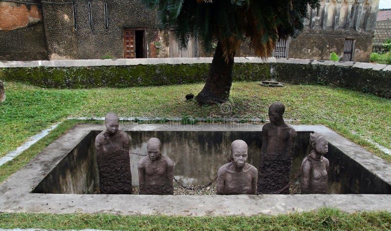 Monument till slavar i Zanzibar arkivbilder