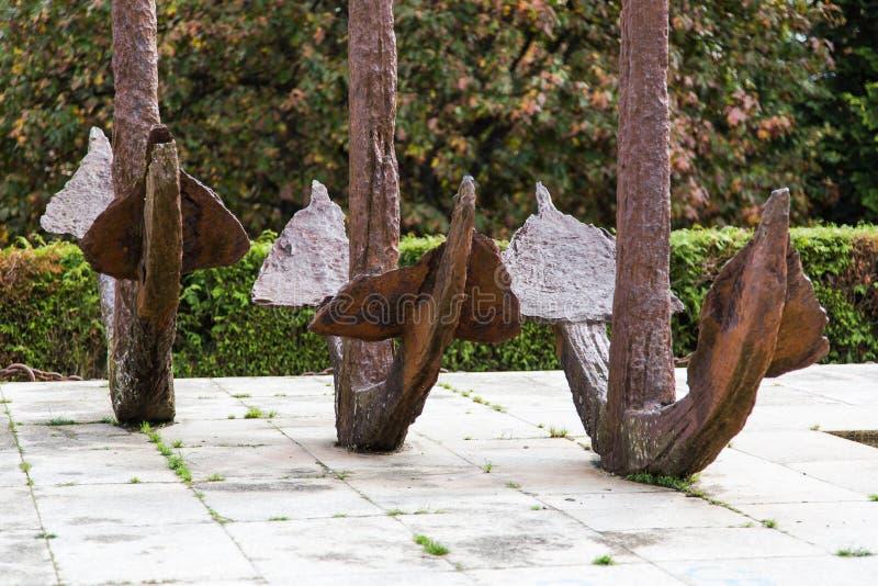 Monument till spansk gallion Monument av tre lantliga ankaren royaltyfri bild