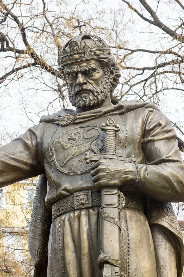 Monument till tsar Samuel i mitten av Sofia, Bulgarien royaltyfria bilder