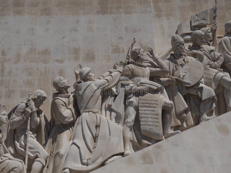 Monument till uppt?ckterna i Lissabon i Portugal royaltyfria foton