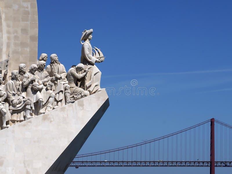 Monument till uppt?ckterna i Lissabon i Portugal fotografering för bildbyråer