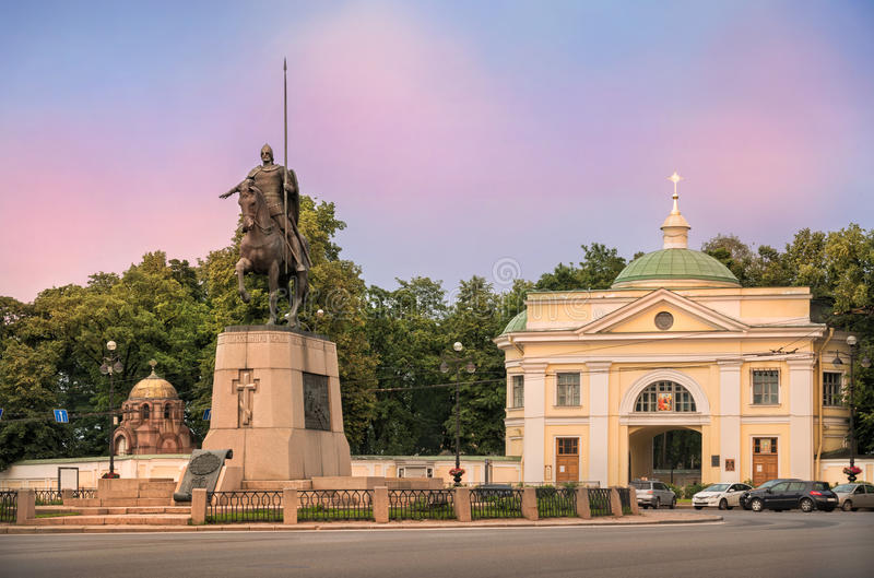 Monument to Alexander Nevsky. Near Lavra at sunset pink sky in St. Petersburg stock images