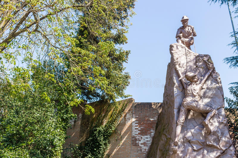 Monument to Alpini Corp. Monument dedicated to Alpini military corp in Riolo Terme in Italy stock photos