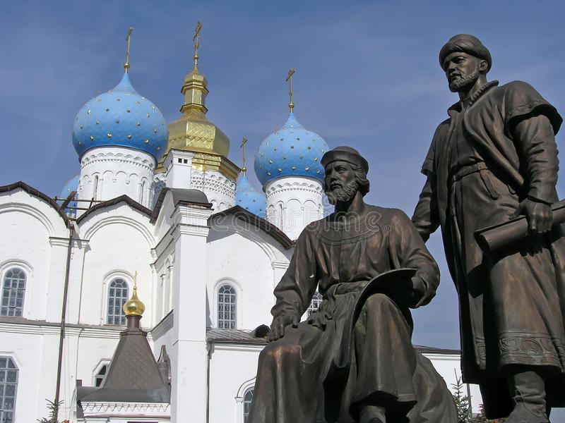 The Monument To Architects Of Kazan Kremlin stock photography