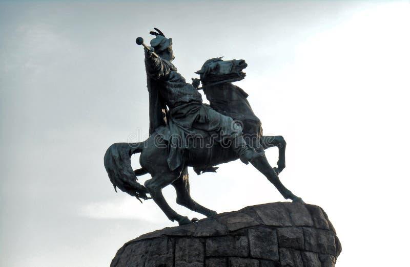 Monument to Bogdan Khmelnitsky close-up against the sky. Kyiv, Ukraine royalty free stock photo