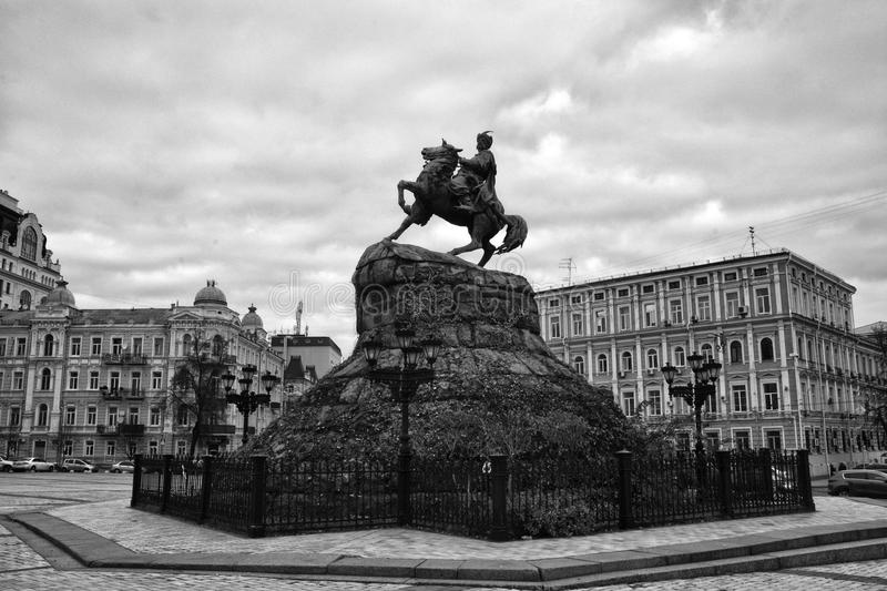 A monument to Bogdan Khmelnitsky on the Sophia Square in Kiev, Ukraine royalty free stock image
