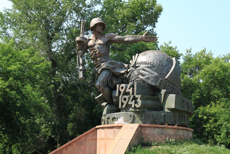 Monument to cadets and teachers of infantry school. In Rubtsovsk stock photography
