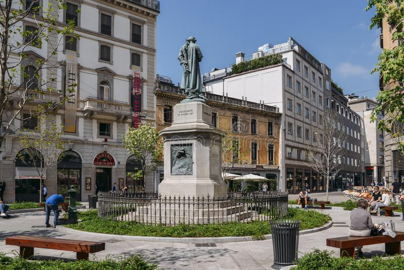 Monument to Cesare Beccaria. He was Italian jurist, philosopher and politician who condemned torture and the death penalty. Milan, Italy - April 17, 2018 stock image