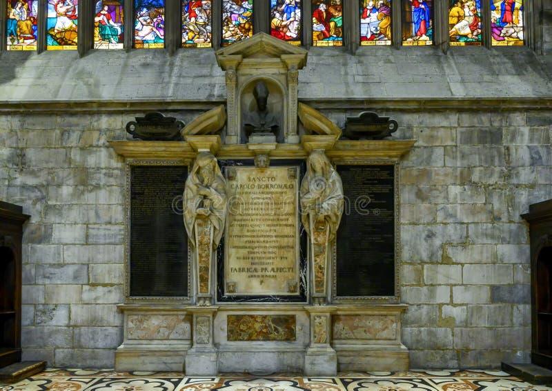 Monument to Charles Borromeo in the Milan Cathedral, Italy. Picture is a monument to Charles Borromeo in the Milan Cathedral in Milan, Italy.  He was Roman stock photos