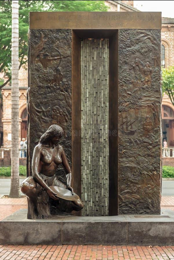 Monument to commemorate first village established in 1616 in Poblado, Medellin, Colombia. Medellin, Poblado, Colombia - March 27, 2018: Monument to commemorate royalty free stock photos