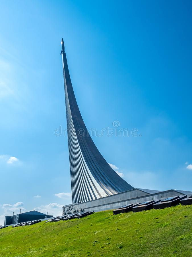 Monument to the Conquerors of Space, Moscow, Russia stock photos