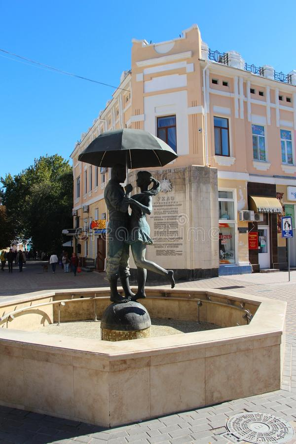 Monument to the Couple under the umbrella in Feodosia stock images