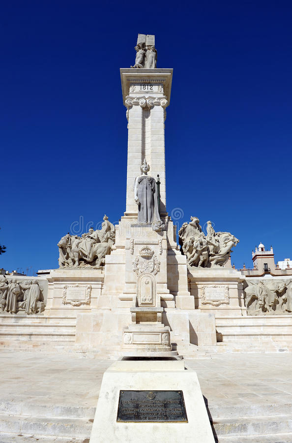 Monument to the Courts of Cadiz, 1812 Constitution, Andalusia, Spain royalty free stock image