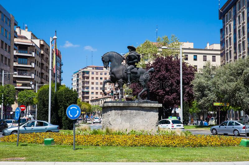 Monument to the Cowboy Charro by Venancio Blanco located at Spain Square in Salamanca. SALAMANCA, SPAIN - MAY, 2018: Monument to the Cowboy Charro by Venancio royalty free stock photo