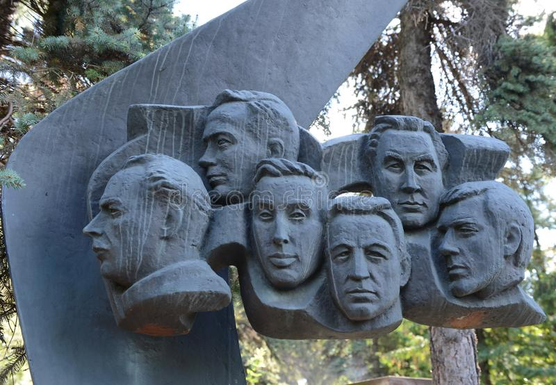 Monument to the crew of the TU-144 aircraft, who was injured in Le Bourget on June 3, 1977, at the Novodevichy Cemetery in Moscow. MOSCOW, RUSSIA AUGUST 27, 2016 stock image
