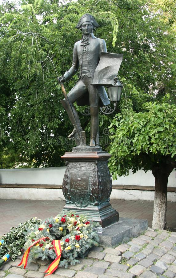 Monument to de Ribas in Odessa, Ukraine stock photo