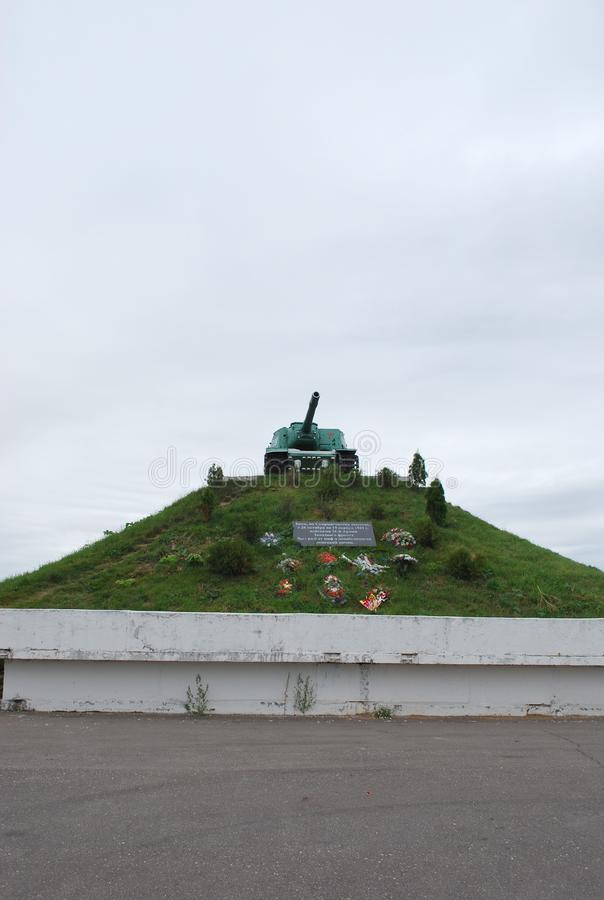 A monument to defenders of the fatherland at Skirmanovsky heights. Soviet heavy self-propelled artillery cannon of ISU-152. Russia. Village of Skirmanovo stock image