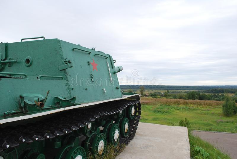 A monument to defenders of the fatherland at Skirmanovsky heights. Soviet heavy self-propelled artillery cannon of ISU-152. Russia. Village of Skirmanovo stock photo