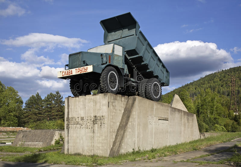 Monument to drivers in Divnogorsk. Krasnoyarsk krai. Russia stock image