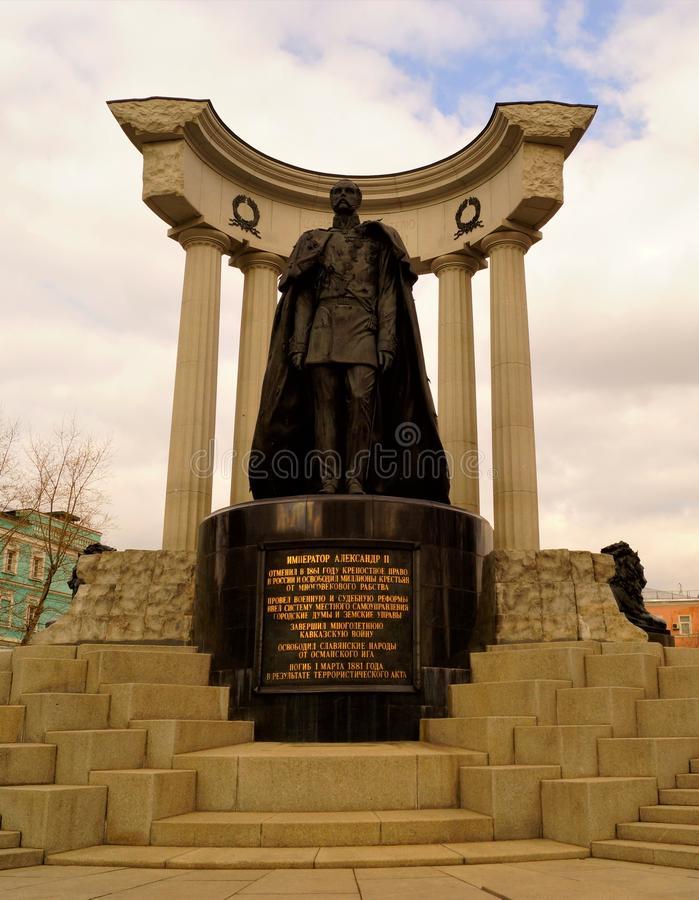 Monument to Emperor Alexander II - Russia Moscow. The authors of the monument — sculptor Alexander Rukavishnikov and architect. Igor Voskresensky and the royalty free stock images