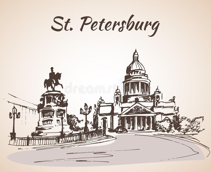 Monument to Emperor Nicholas in Saint Petersburg stock illustration