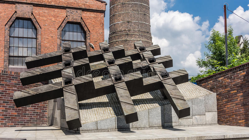 The monument to the fallen miners. The monument to nine miners of Wujek Coal Mine fallen on December 16, 1981 during the pacification of the strike against the royalty free stock image