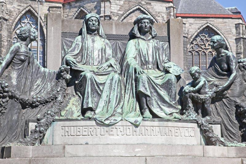 Monument to famous painters Hubert and Jan van Eyck. Ghent. Sculptural composition. Flemish artists Hubert and Jan van Eyck. 1913 year royalty free stock photography