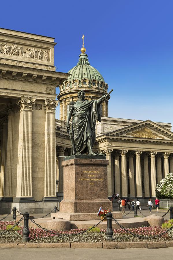 Monument to field Marshal Prince Kutuzov of Smolensk at the Kazan Cathedral in Saint-Petersburg. Russia stock image