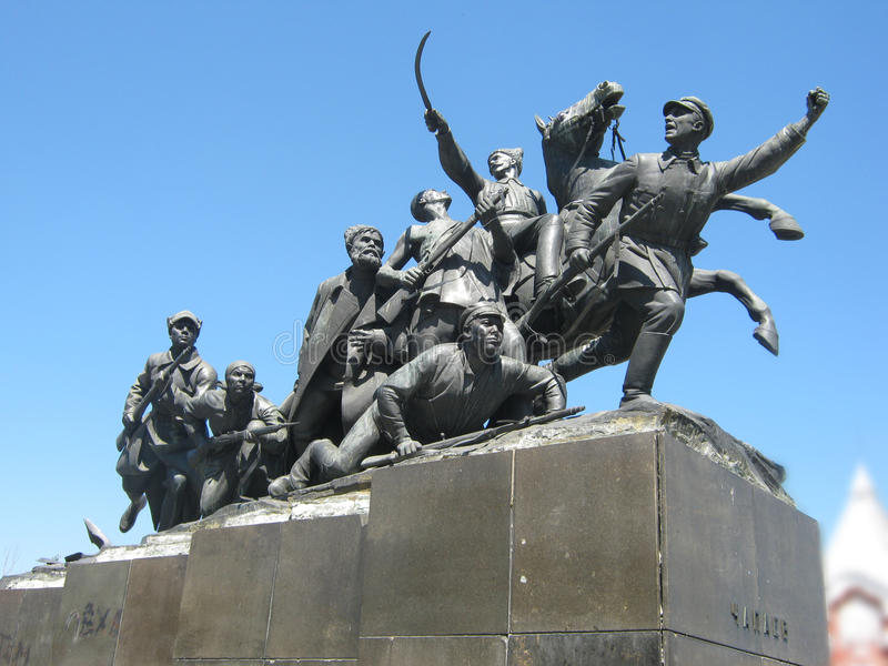 Monument to fighters for revolution stock images