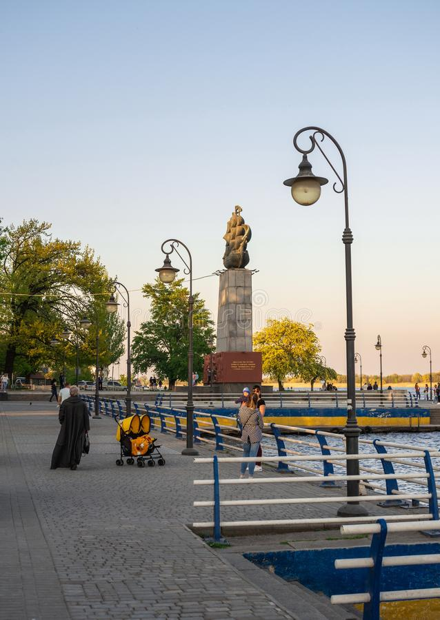 Monument to the first shipbuilders in Kherson, Ukraine. Kherson, Ukraine - 04.27.2019. Monument to the first shipbuilders in Kherson in the spring evening stock images
