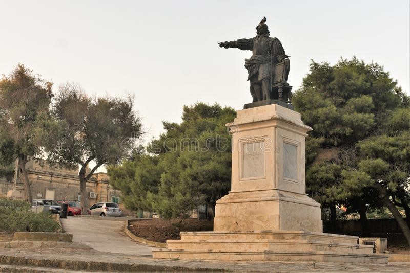 Floriana, Malta, August 2019. Side view of the monument to the founder of the city. A monument to the founder of the city, Duke Florian in the city square, a royalty free stock images
