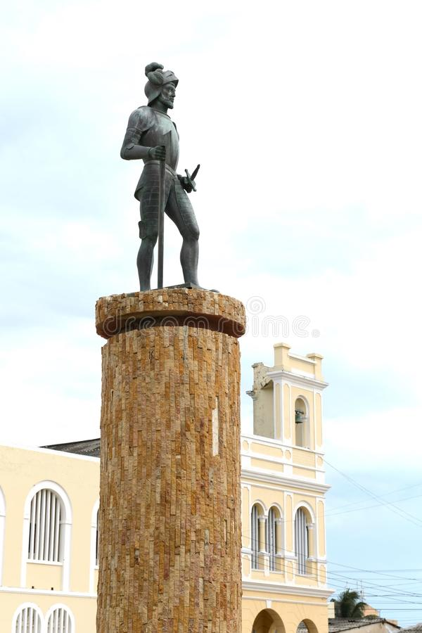 Monument to the founder of the city Riohacha German conquistador Nikolaus Federmann stock image