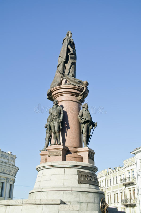 Monument to the founders of Odessa. 1900 year. Ancient monument with the sculptures of noble grandees in city Odessa stock photos